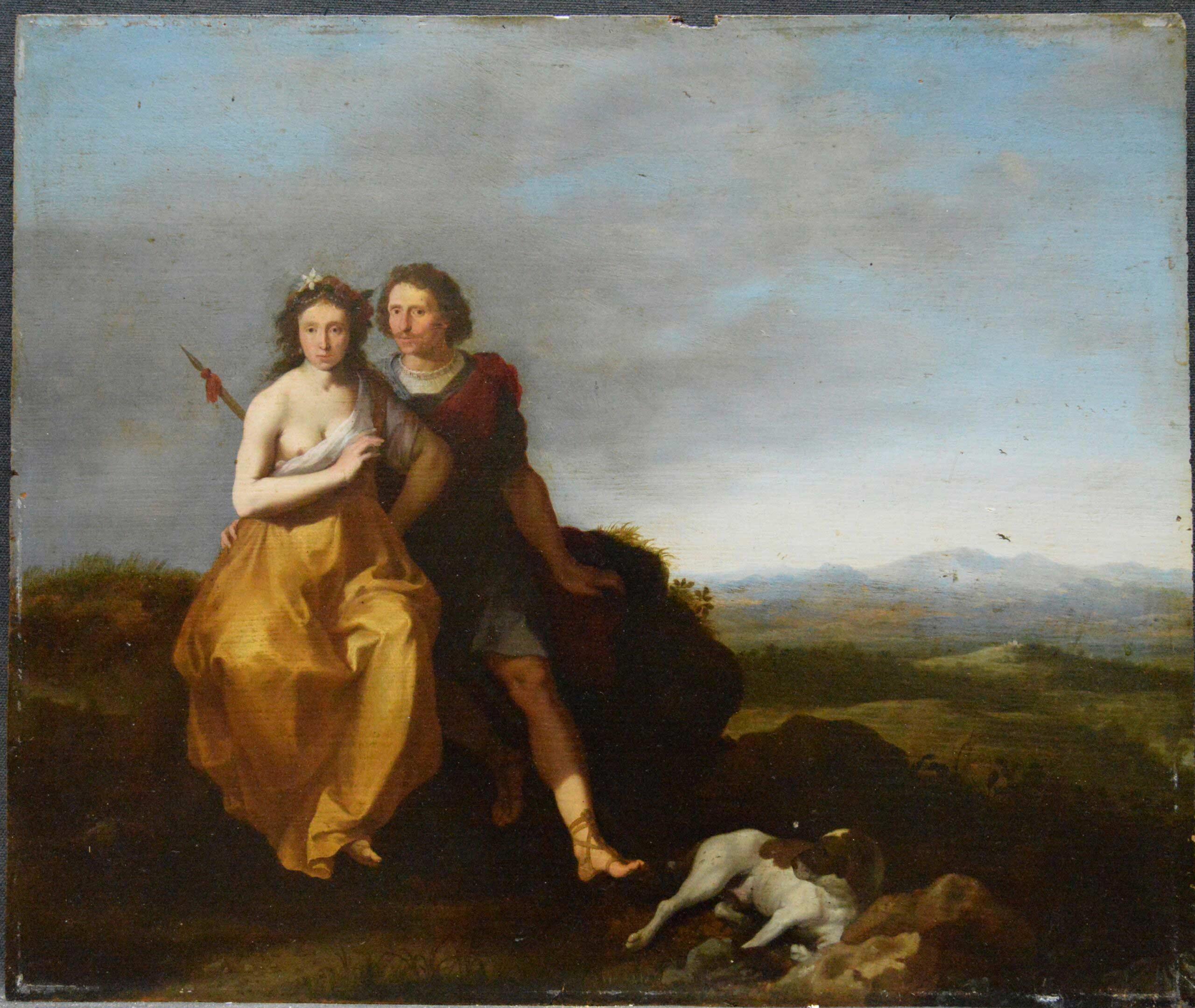 Portrait de couple en bergers dans un paysage, panneau de chêne