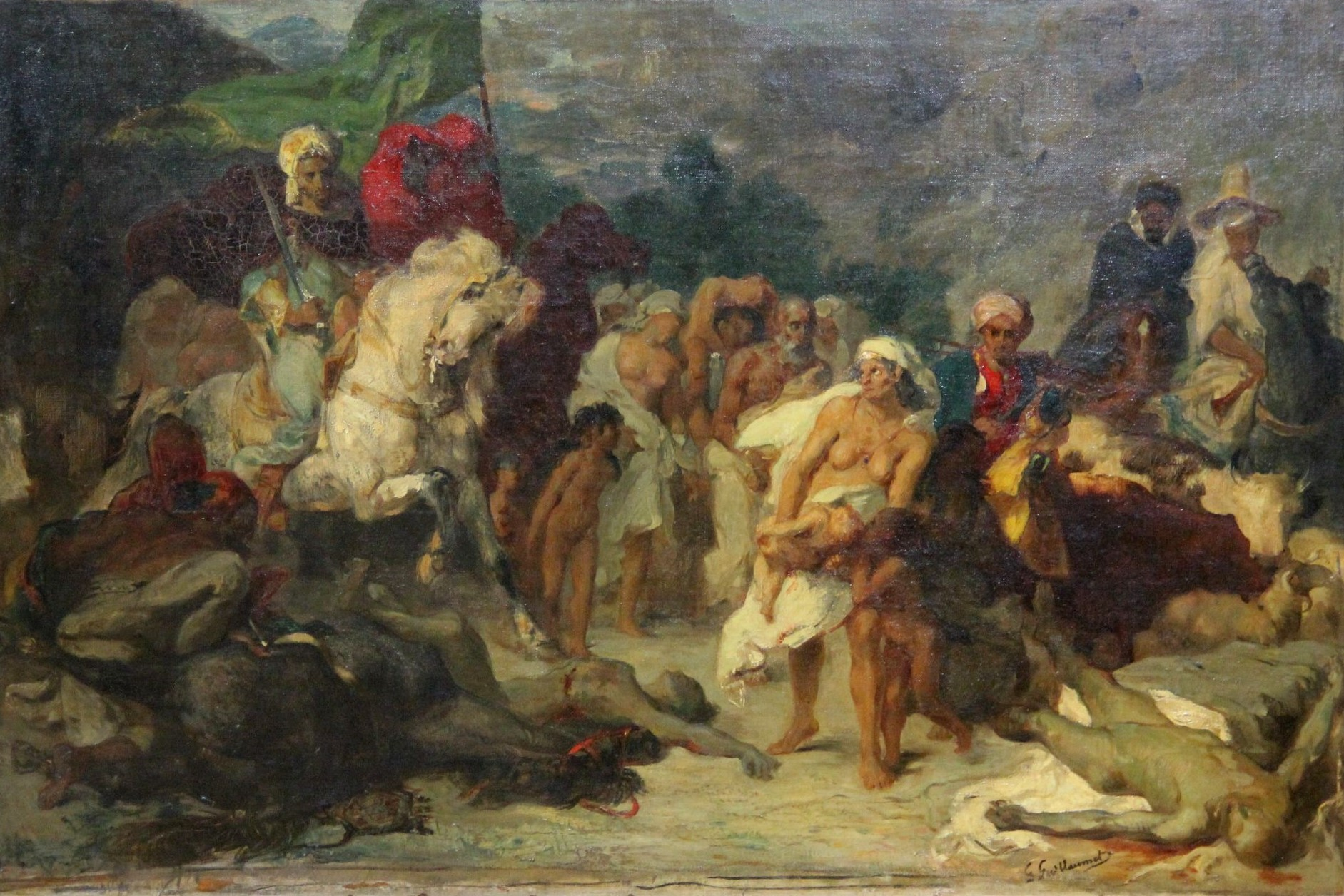 Scène des massacres de Scio, huile sur toile
