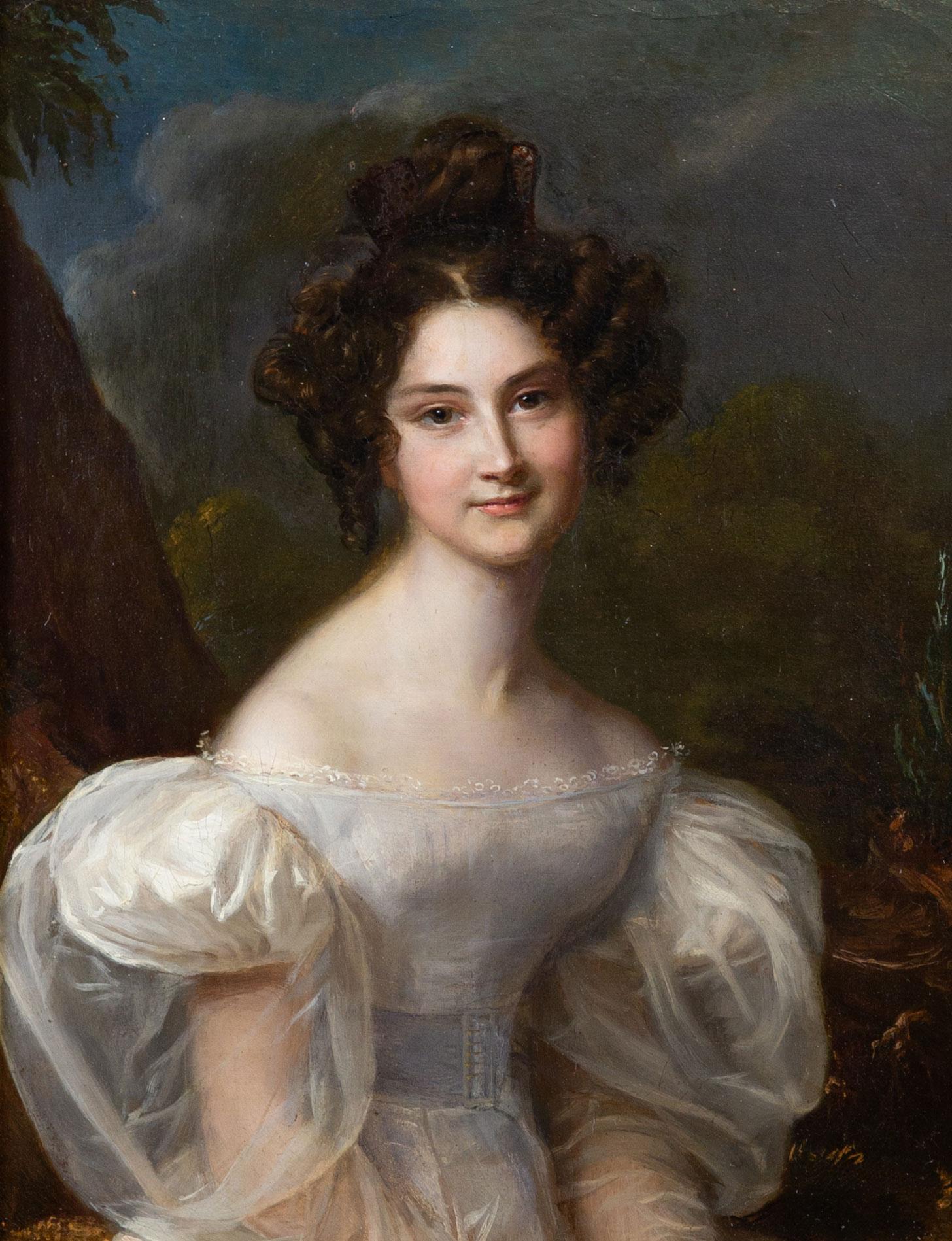 Portrait de dame dans un paysage, huile sur toile